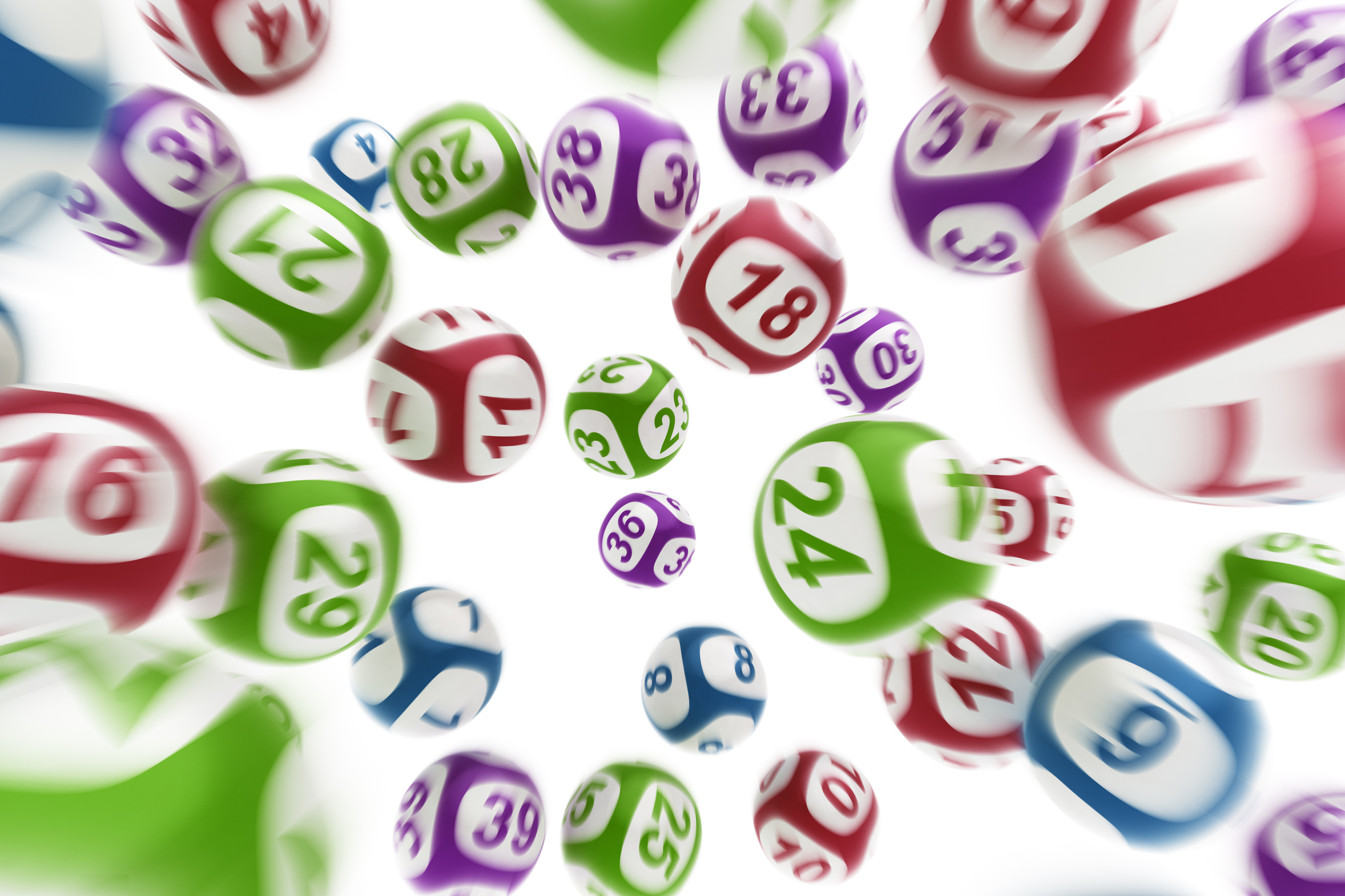 3d Rendering Of Flying Lottery Balls